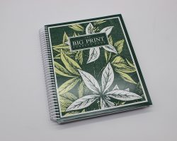 Large print address spiral notebook with flowers on it